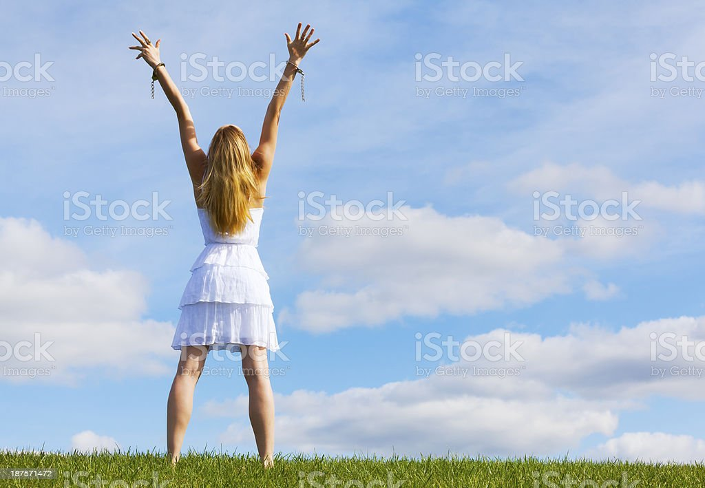 Handcuffs Broken; Giving Praise for Freedom From Her Chains stock photo