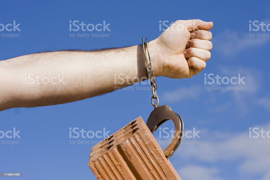 handcuffs stock photo