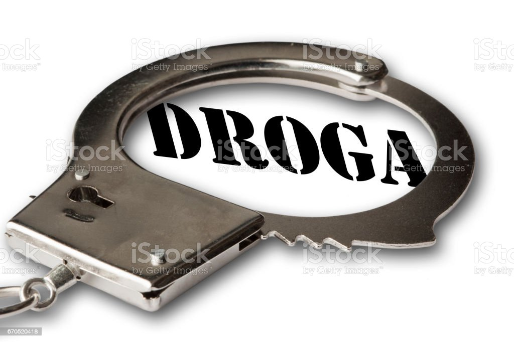 Handcuffs with a Word 'Droga' in Spanish, Portuguese and Italian stock photo
