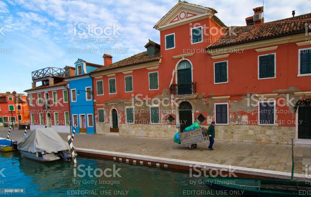 Hand-Drawn Carts Used for Garbage Collection in Venice stock photo