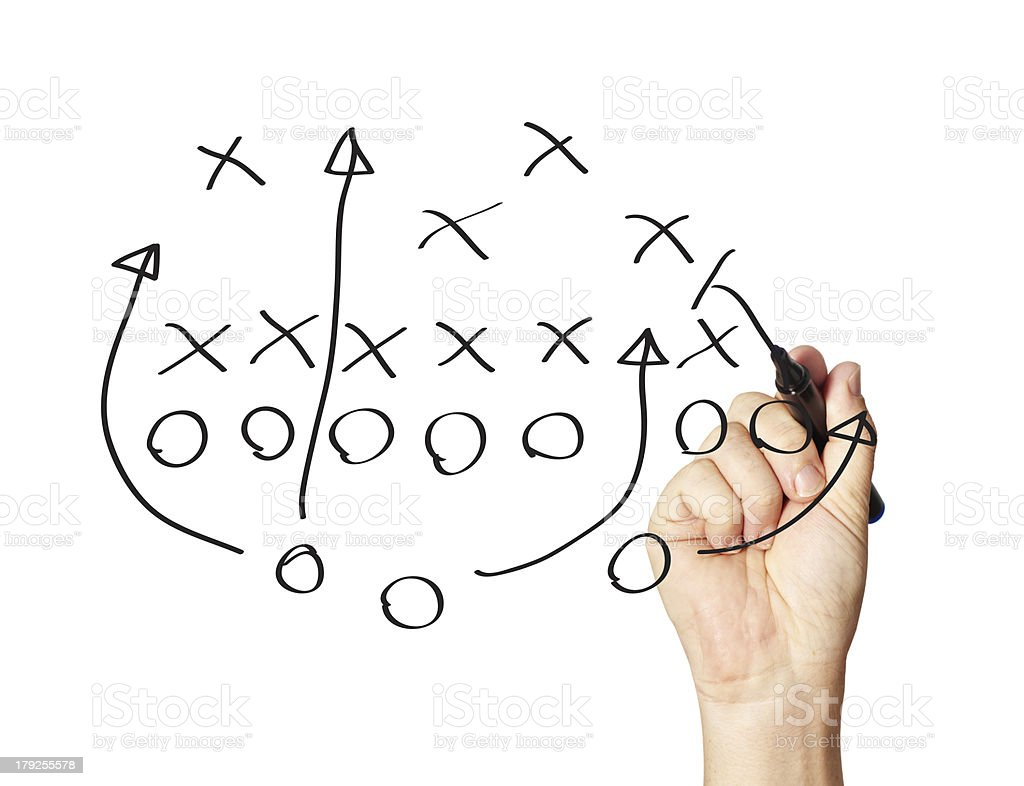 Hand-drawn football play-board with black pen stock photo