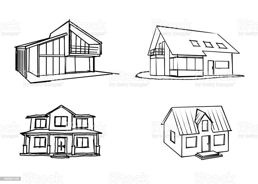 Handdrawn House stock photo