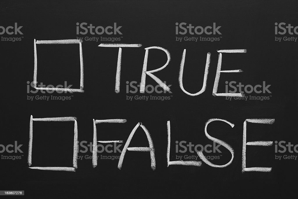 Hand-drawn of true or false checkbox on blackboard stock photo