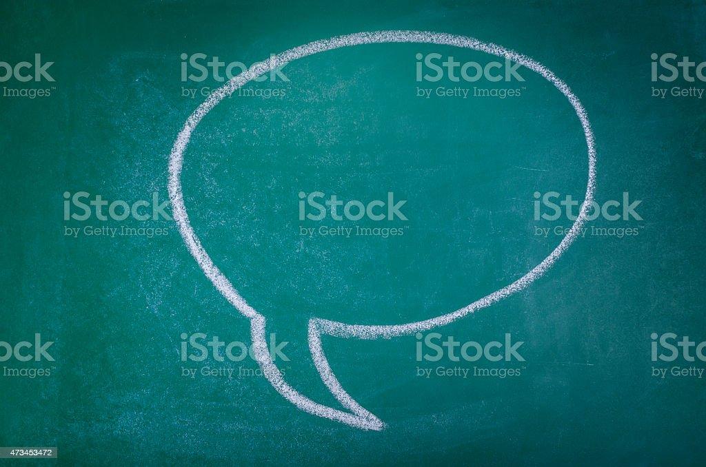 Hand-drawn speech bubble on chalkboard background stock photo