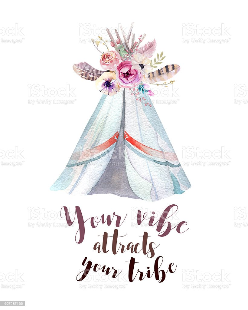 Handdrawn watercolor tribal teepee, isolated white with quote. tent and stock photo