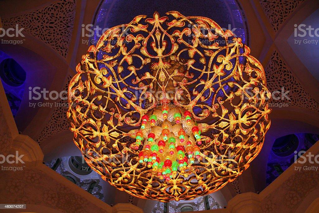Сhandelier inside of Sheikh Zayed Mosque stock photo