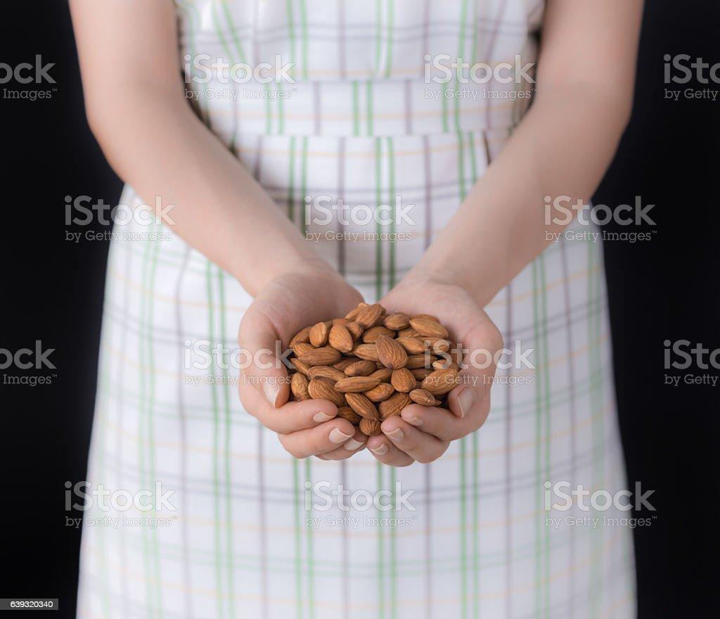 Handful Almonds stock photo