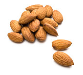 Handful of almonds on a white background