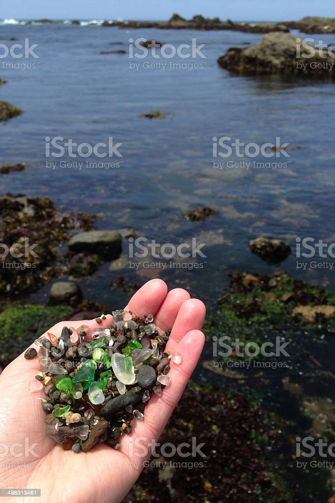 Handful of Beach Glass royalty-free stock photo