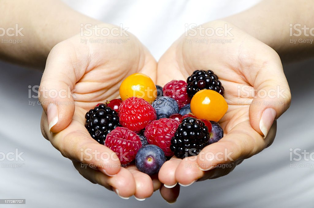 Handful of berries royalty-free stock photo