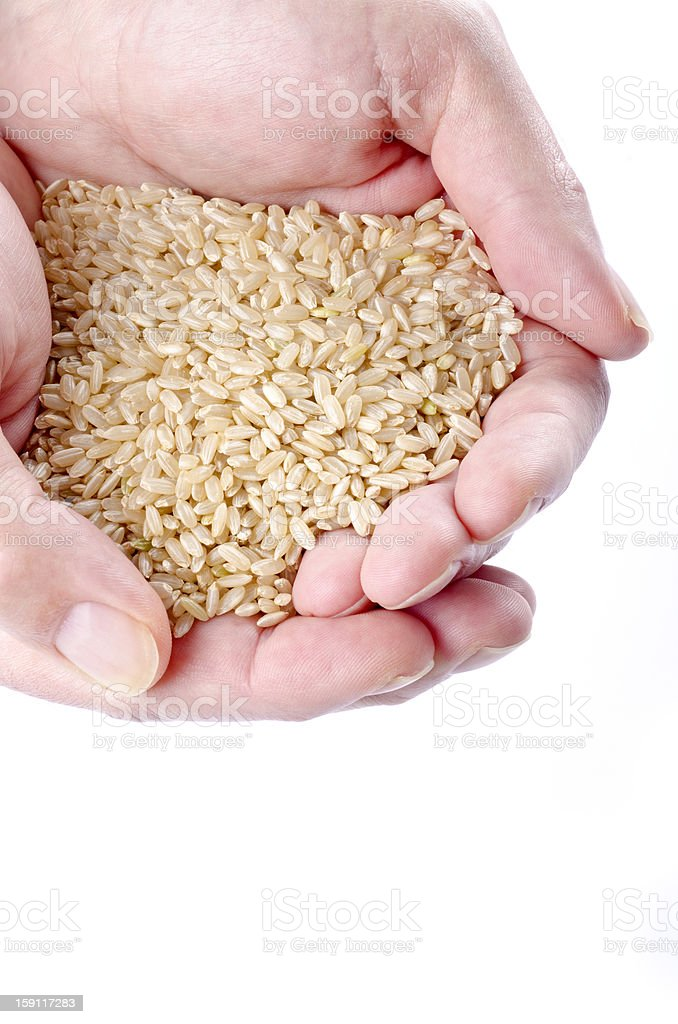 Handful of Brown Rice royalty-free stock photo