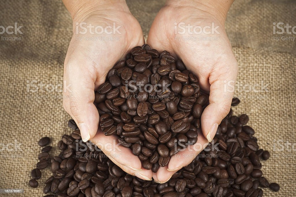 Handful of coffee beans royalty-free stock photo