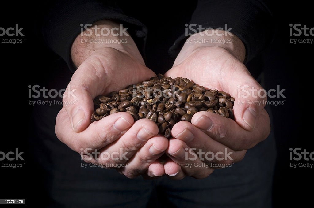 Handful of coffee royalty-free stock photo