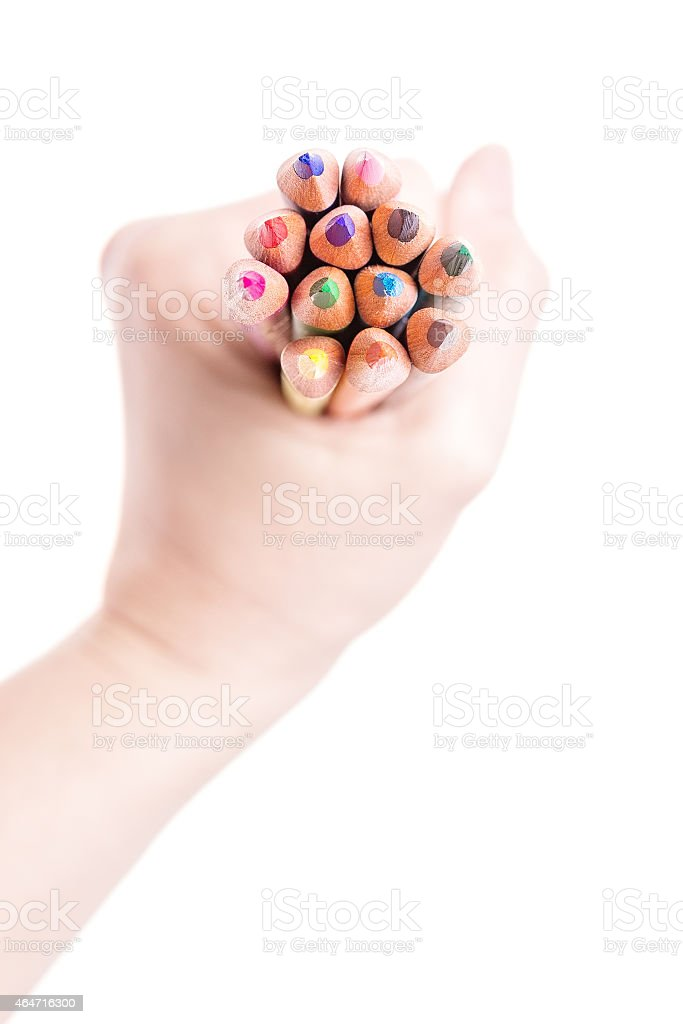 Handful of color pencils stock photo