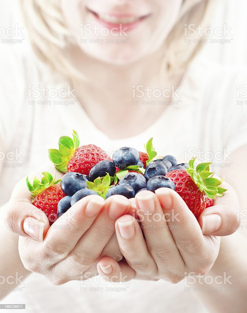Handful of fresh fruits royalty-free stock photo