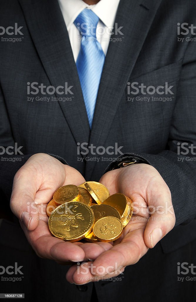 Handful of gold coins royalty-free stock photo