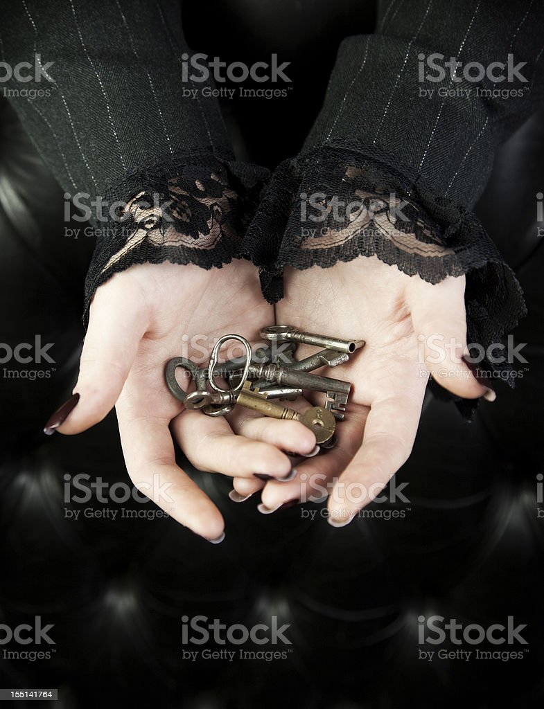 Handful of keys stock photo