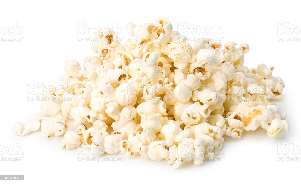 Handful of popcorn isolated on a white background royalty-free stock photo