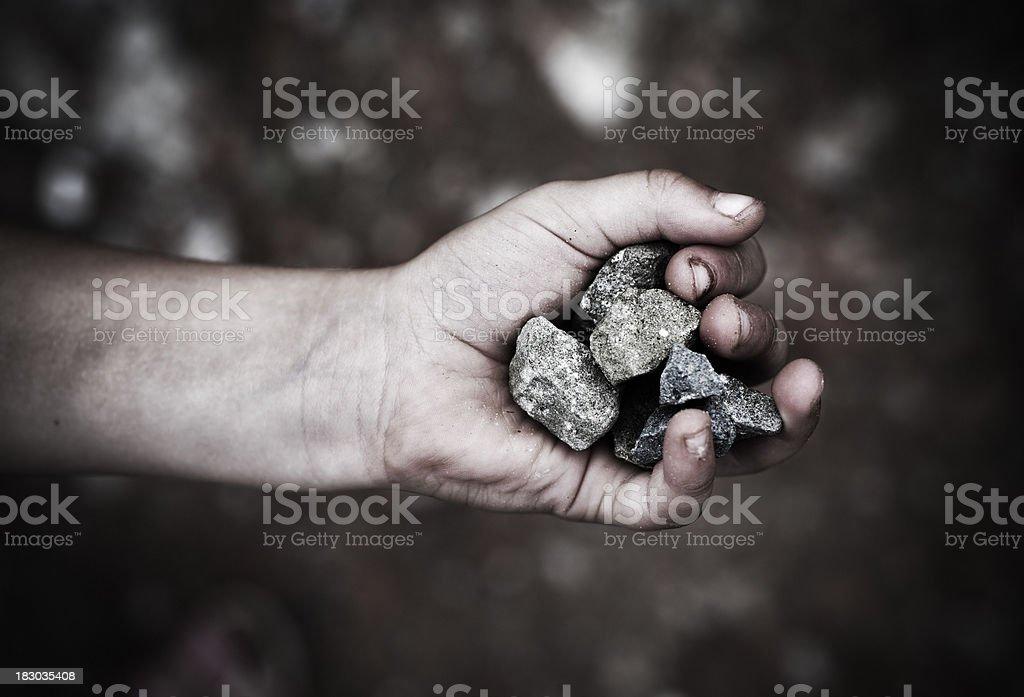Handful of stones stock photo