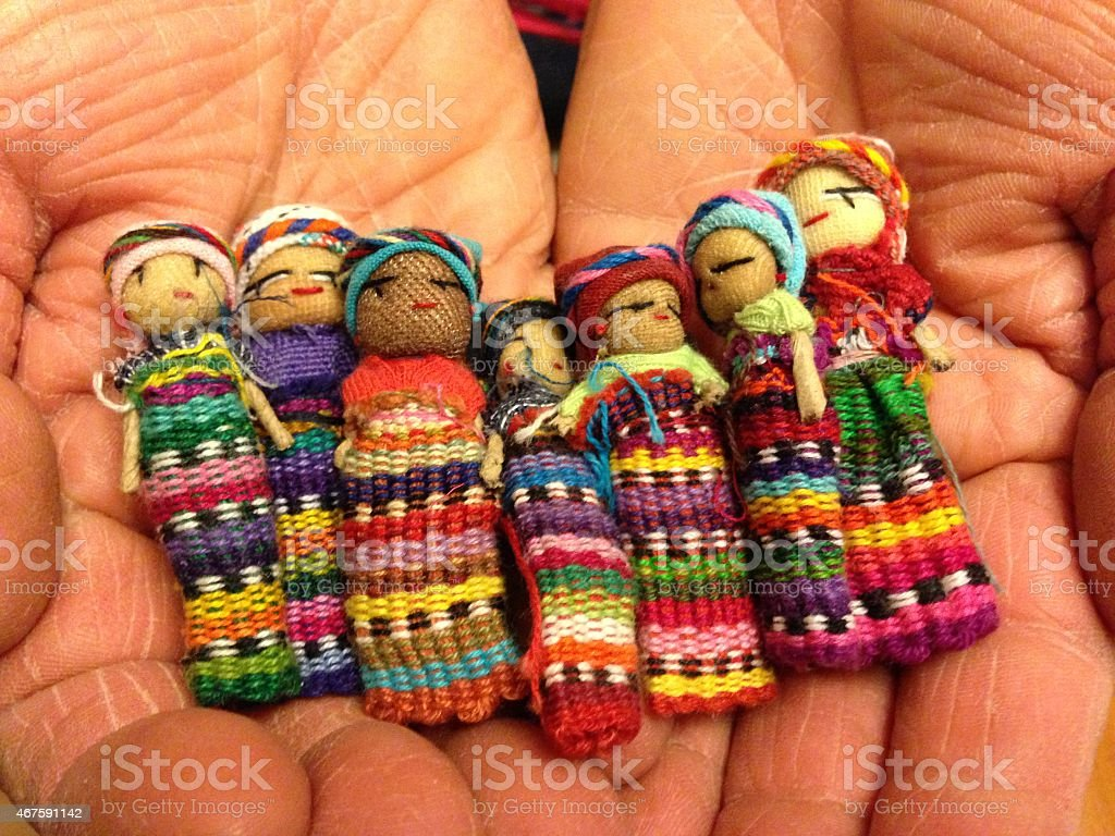 Handful of Worry Dolls stock photo