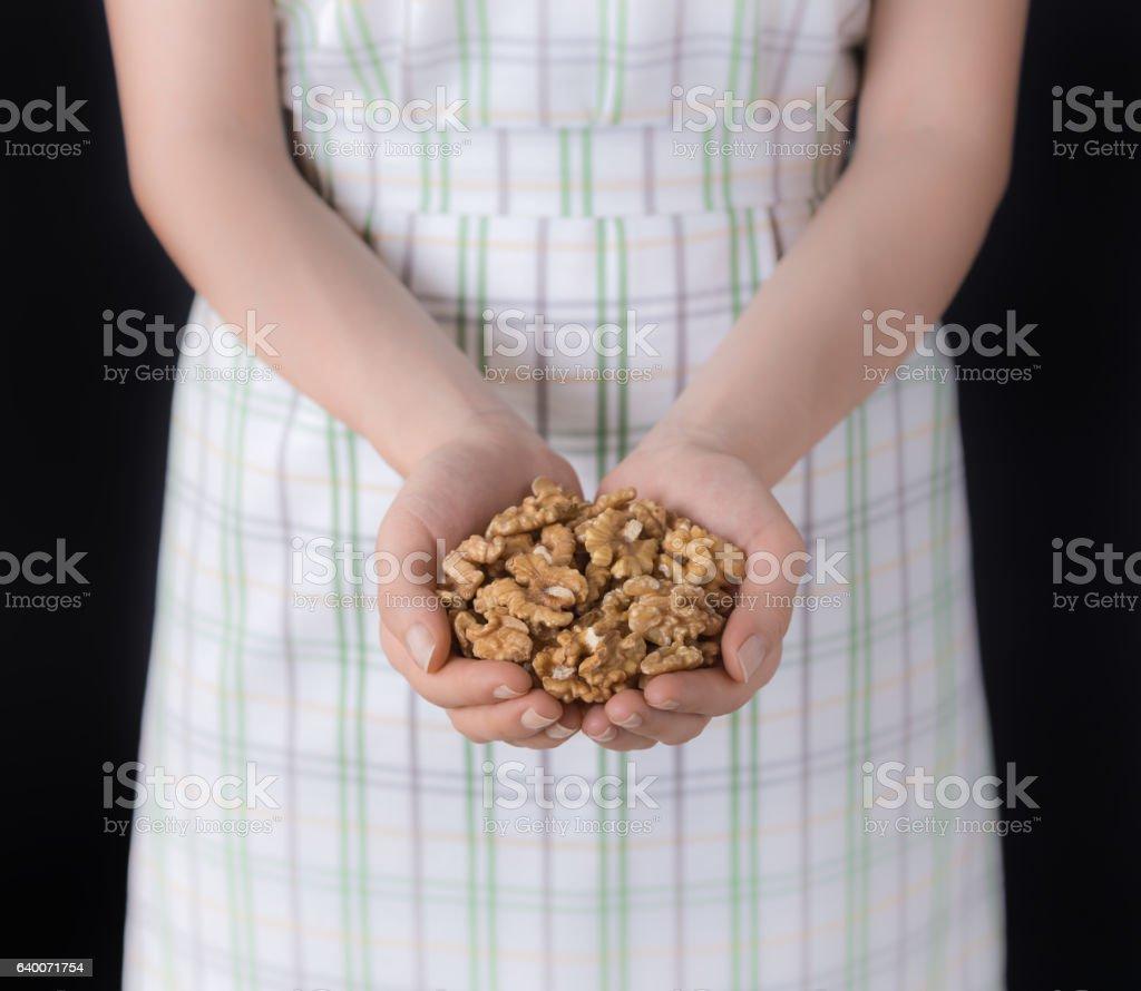 Handful Walnuts stock photo