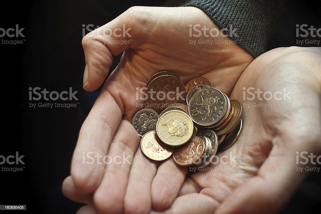 Handfull of Coins stock photo