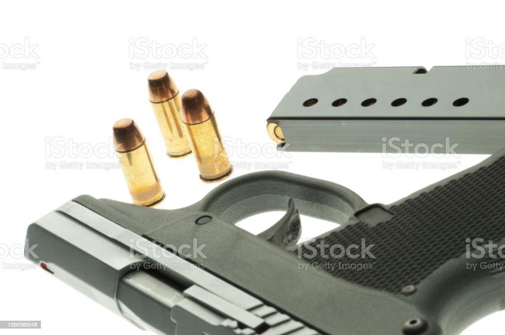 Handgun and ammunition royalty-free stock photo