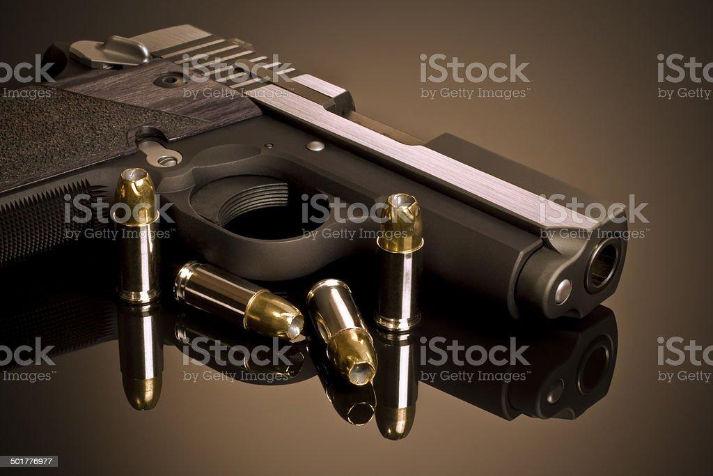 Handgun and Hollow Points stock photo