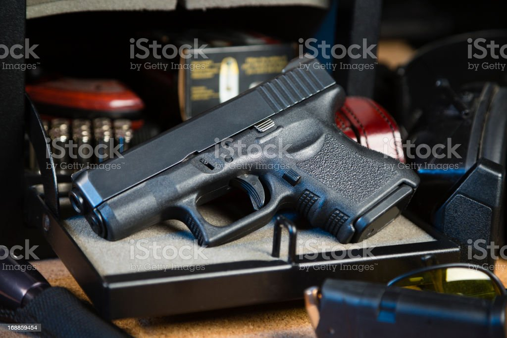 Handgun and Safe stock photo