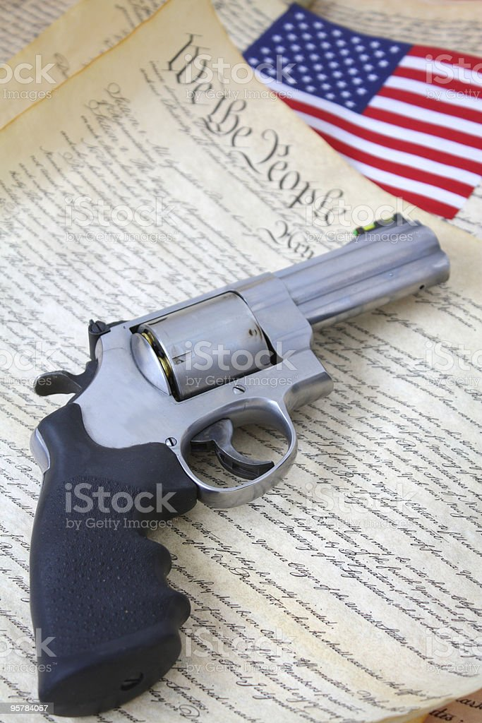 Handgun and Second Amendment Rights royalty-free stock photo