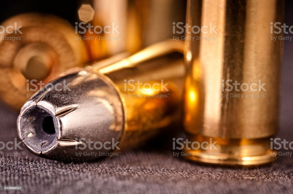 Handgun bullets close-up stock photo