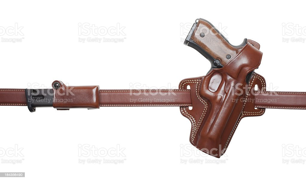 handgun in holster on a belt (XXL) royalty-free stock photo
