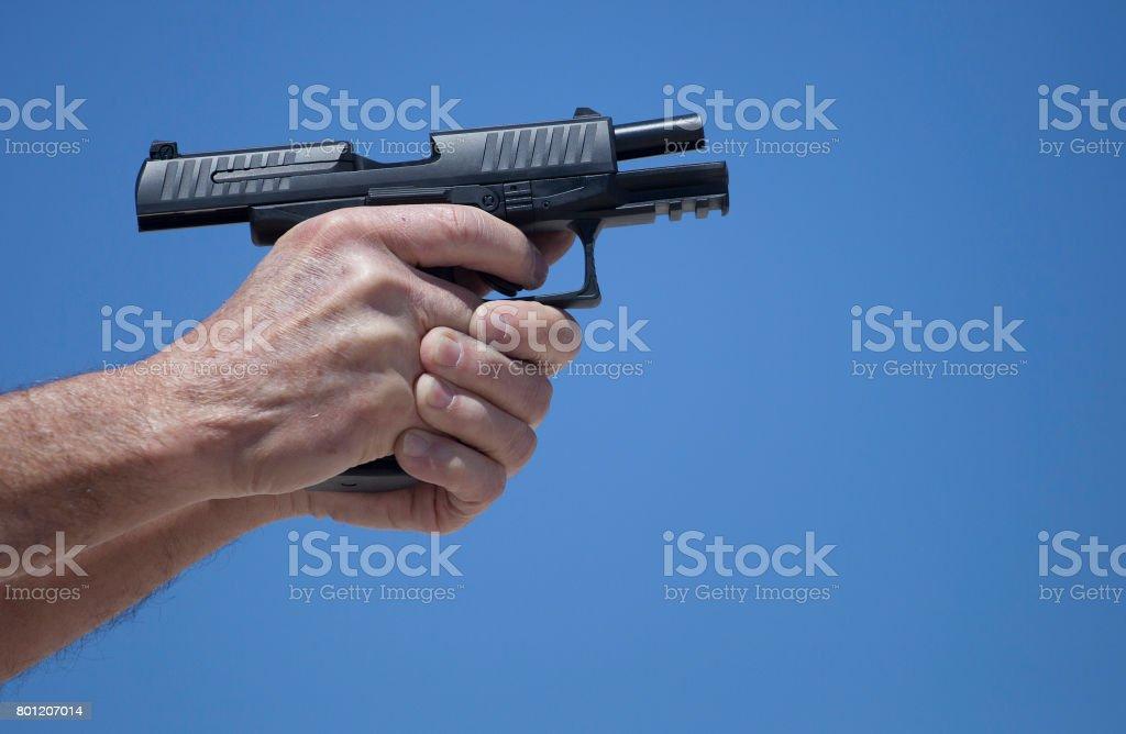 Handgun locked back stock photo