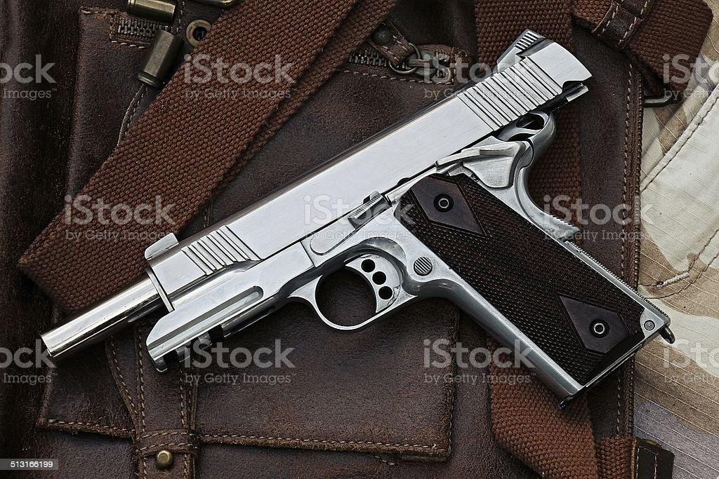 handgun lying over a Leather handbag stock photo