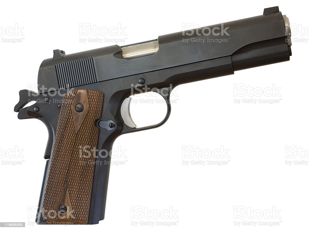handgun of the 1911 variety stock photo