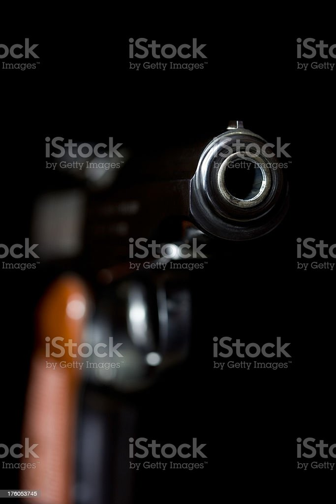 Handgun on Black royalty-free stock photo