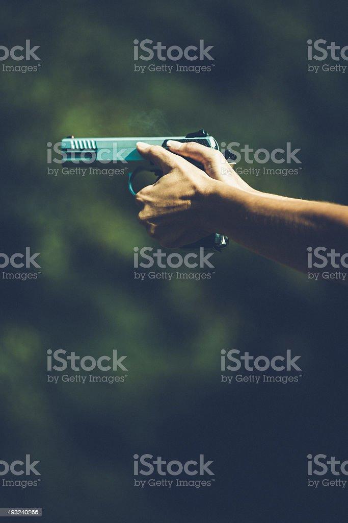 Handgun shot stock photo