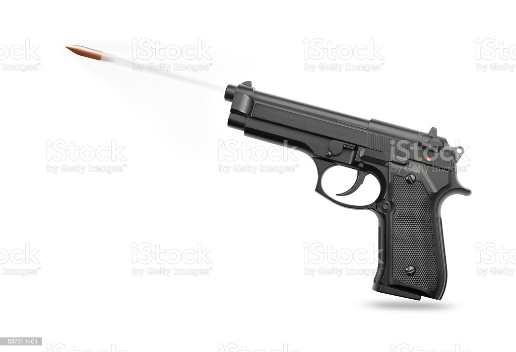 Handgun with bullet stock photo