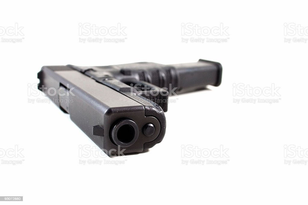 Handgun with High Capacity Magazine stock photo