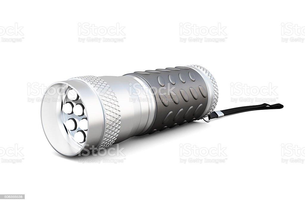 Handheld led flashlight. 3d rendering. stock photo