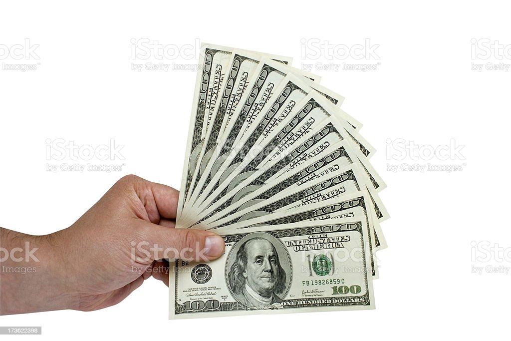 Handheld Money Fan royalty-free stock photo