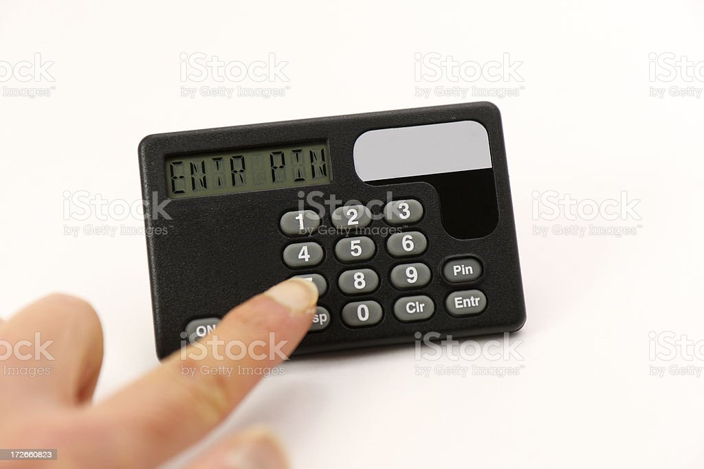 Handheld PIN security device stock photo