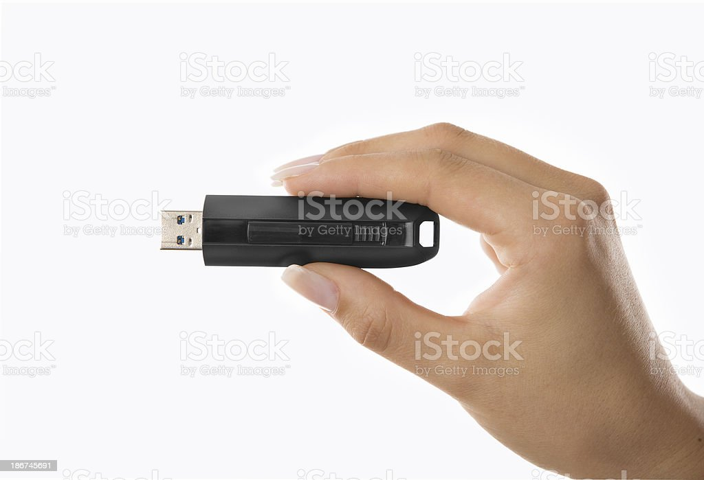 hand-held usb-stick stock photo
