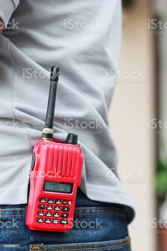 Handheld walkie talkie for outdoor stock photo