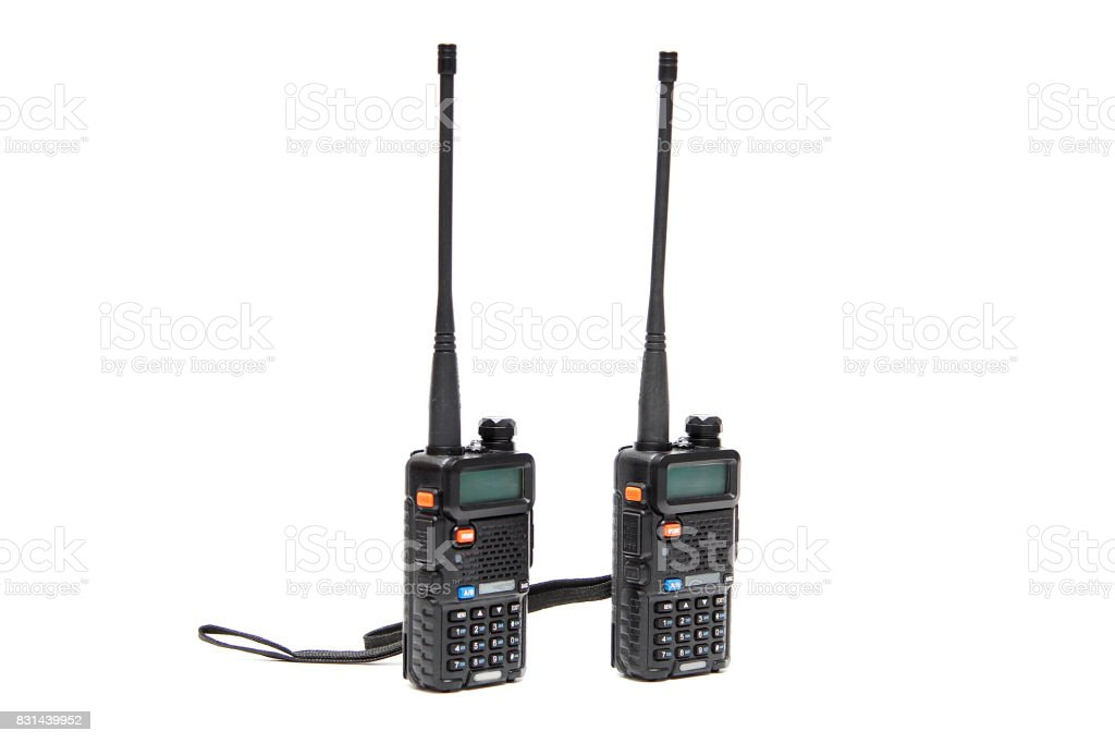 Handheld walkie talkie on a white background stock photo