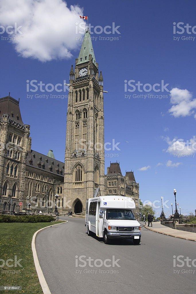 Handicap Bus on Parliament stock photo