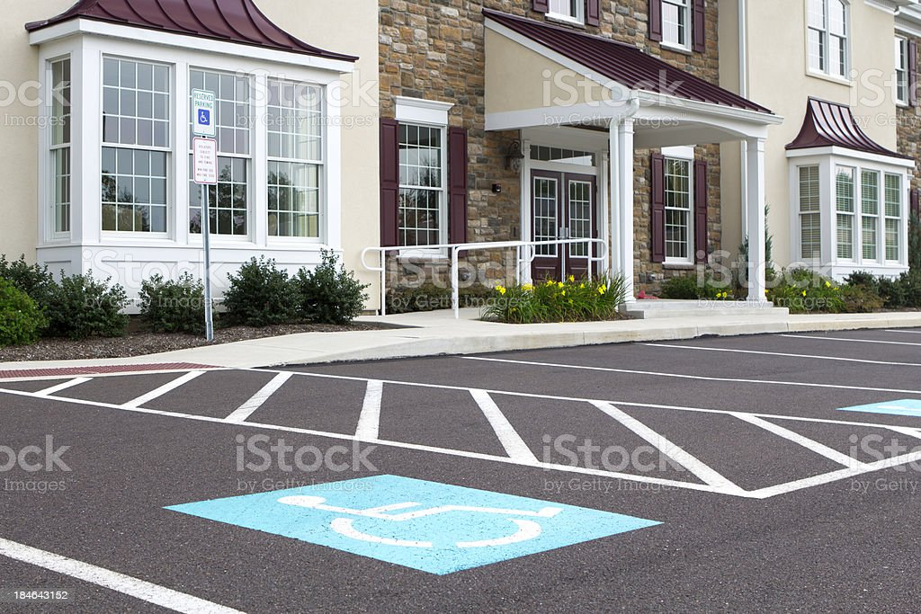 Handicap parking at a medical office royalty-free stock photo