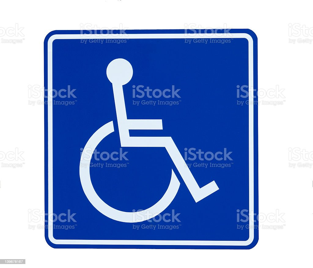 A handicap parking sign isolated on a white background royalty-free stock photo
