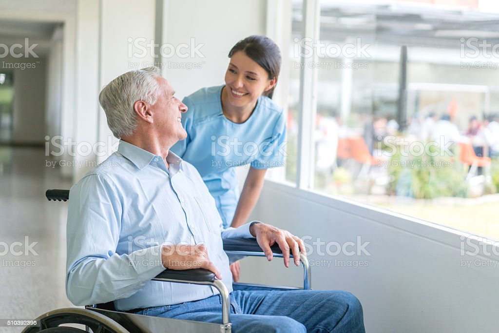 Handicap patient at the hospital stock photo