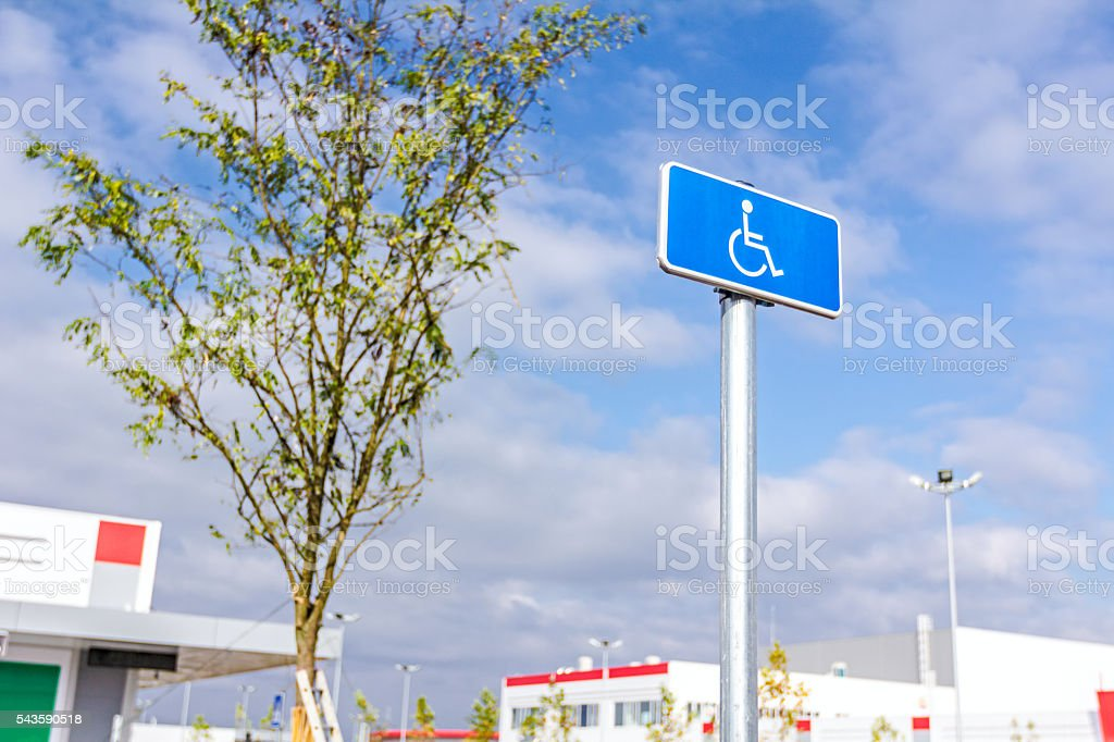 Handicap sign, Handicapped parking place stock photo